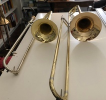 Alto trombone (left) and Tenor trombone (right)