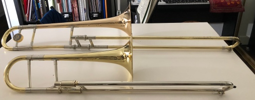 Alto trombone (front) and Tenor trombone (back).