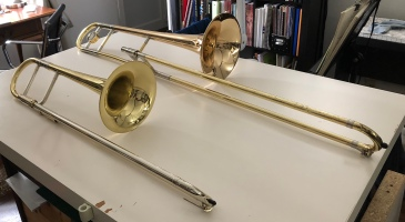 Alto Trombone (left) and Tenor trombone (right).